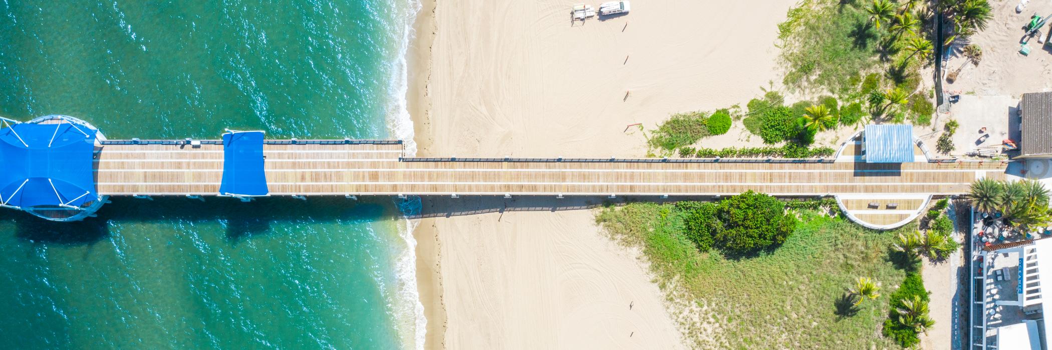 Aerial View of Ocean Boardwalk at Pompano Beach in Fort Lauderdale
