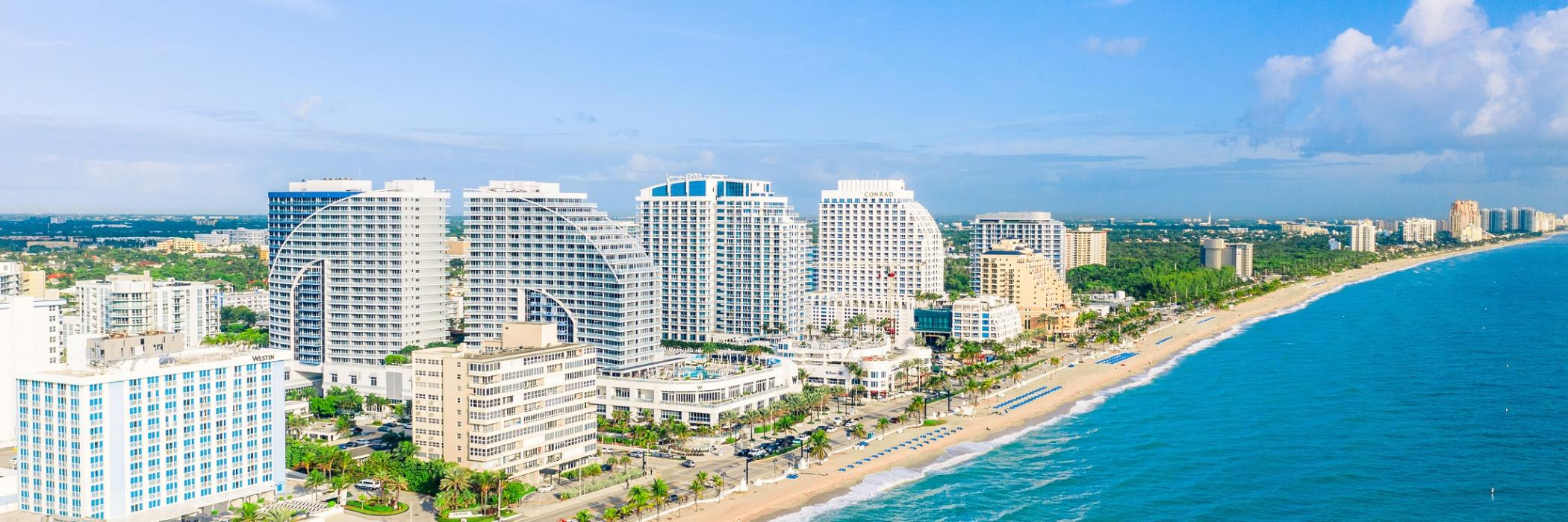 Aerial view of Fort Lauderdale beach hotels taken from over the Atlantic Ocean