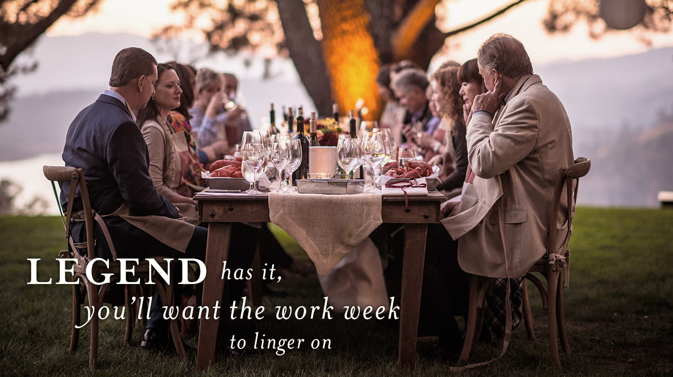 Legend has it, you'll want the work week to linger on in Napa Valley