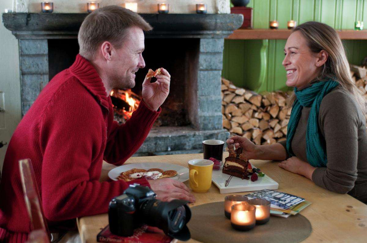 Couple on a cafe at Lillehammer