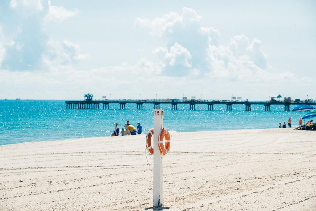 A beach view of Anglin's Pier in Lauderdale by the Sea