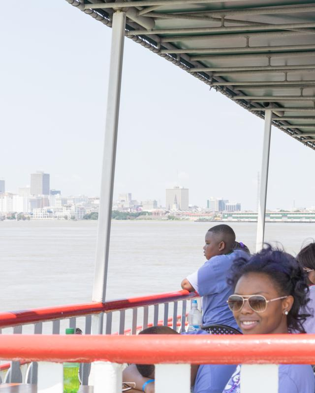 Family reunion, riverfront, French Quarter, Steamboat Natchez