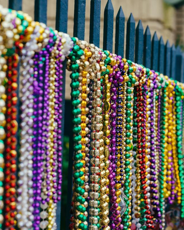 Mardi Gras Bead Fence Garden District