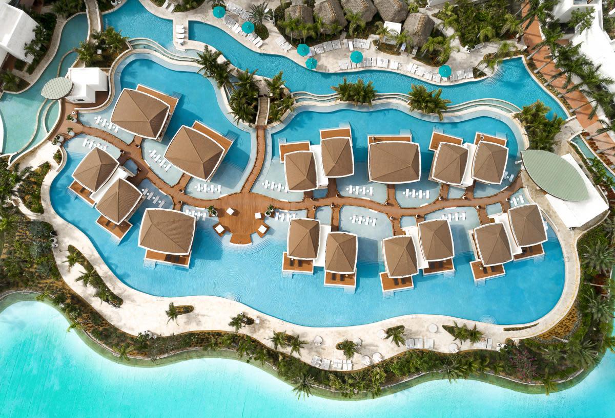 An aerial shot of the Bora Bora Cabanas at Seminole Hard Rock Hotel & Casino