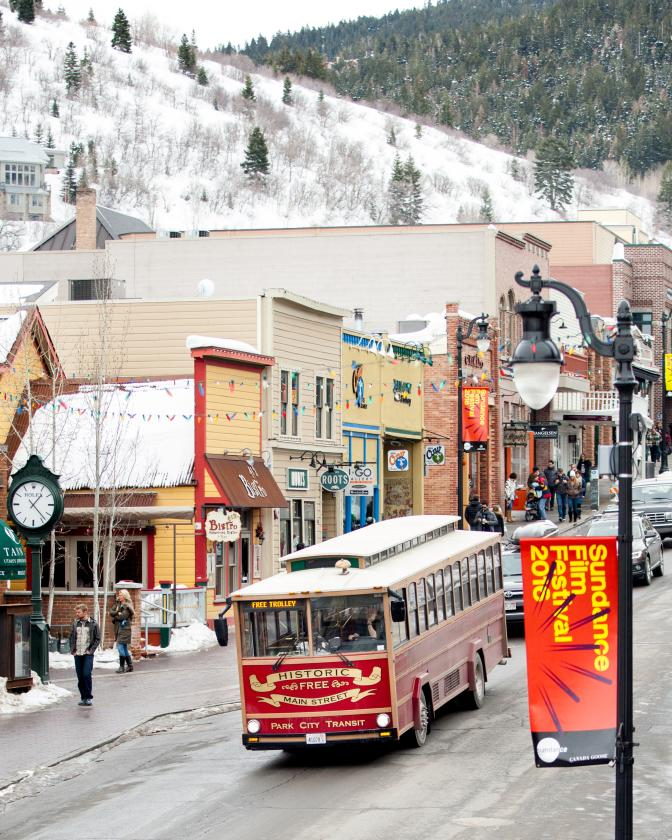 Trolley on Historic Main Street During Winter
