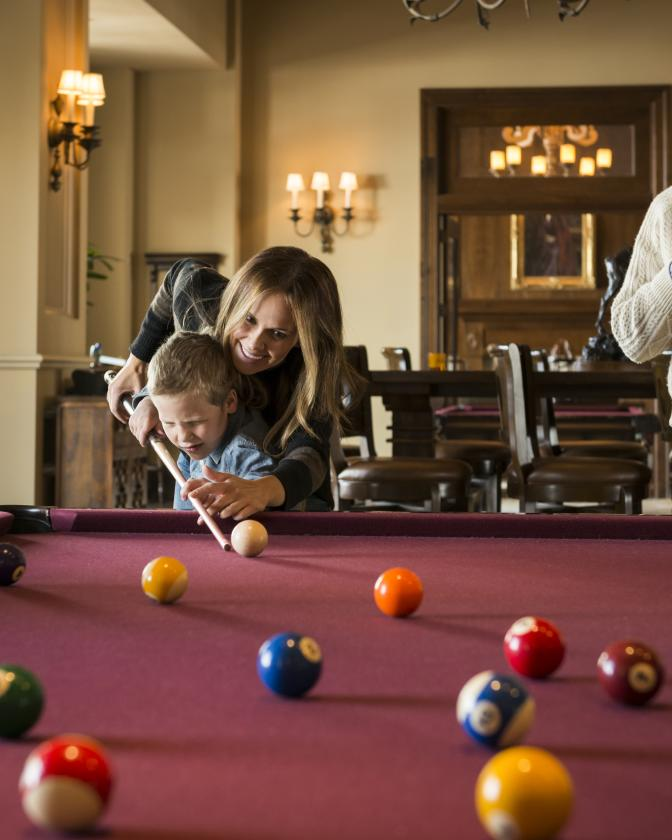 Family Playing Pool at Montage Deer Valley