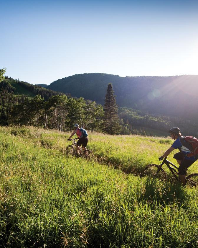 Mountain Biking on Mid Mountain Trail at Park City Mountain Resort