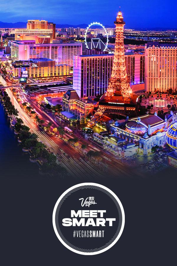 Meet Smart logo over Vegas Strip