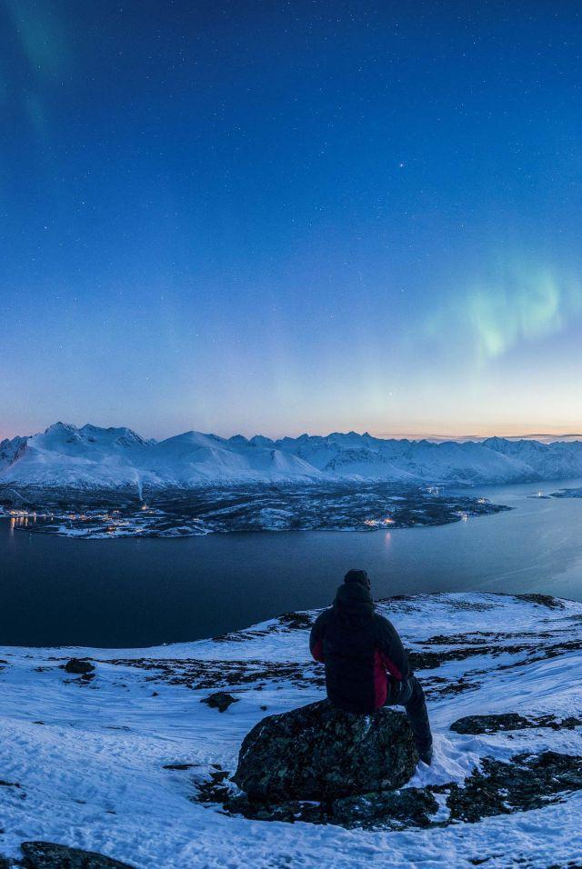 Aurora borealis over Lyngenfjord, Northern Norway