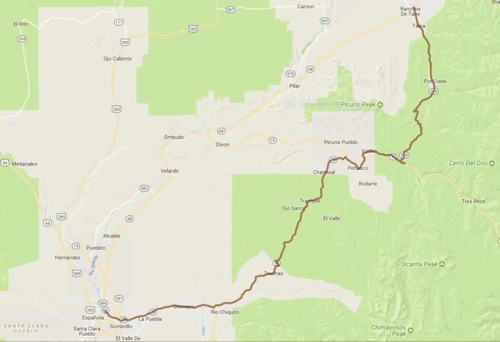 High Road to Taos Map