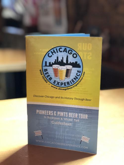 Menu from Chicago Beer Experience