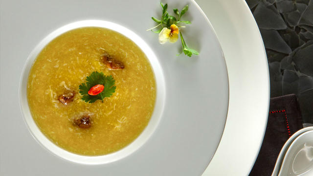 Red Plate Sweet Corn and Foie Gras Soup