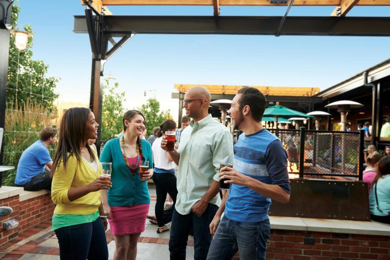 Friends enjoying Founders Brewing Company