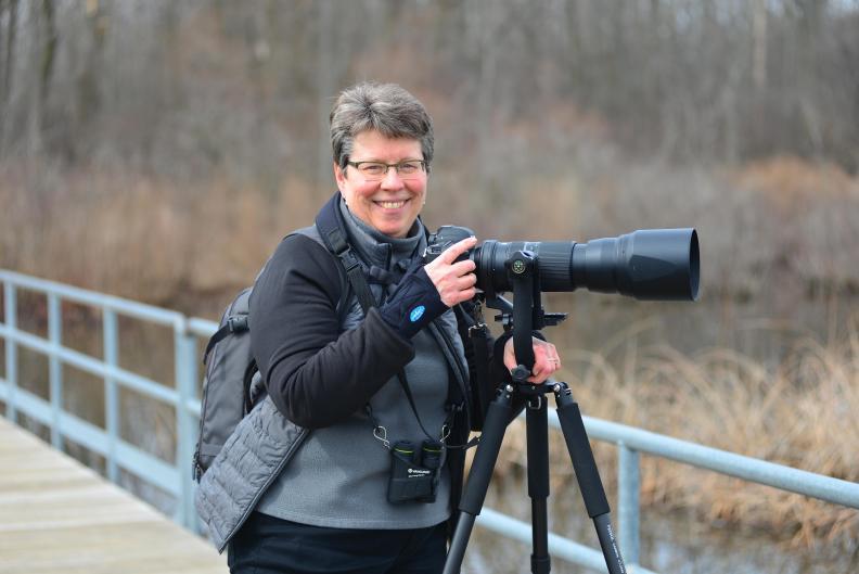 Bird photographer Jan Lewis at Reed's Lake