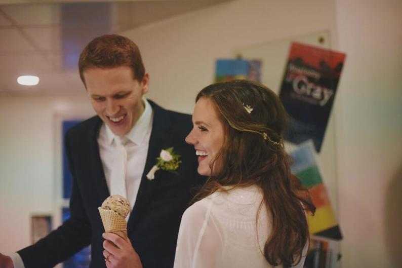 Wedding couple at Furniture City Creamery