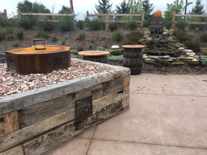 Trail Point Brewery in Allendale (on the way towards the lakeshore) opened a fully remodeled patio in August of 2017. There are heaters, sunshades, a fountain, and a firepit!