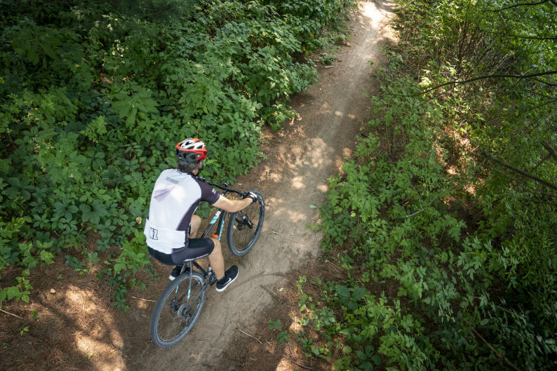 Mountain biker riding through trail in West Michigan