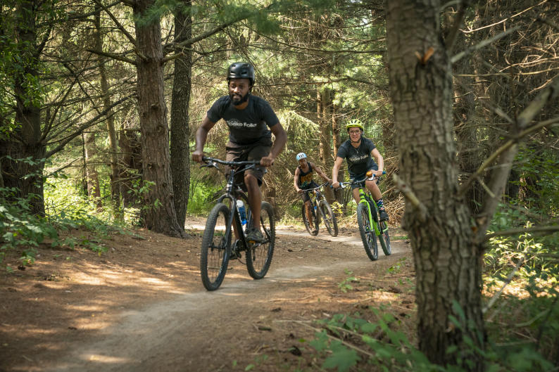 Mountain bikers on a trail near Grand Rapids