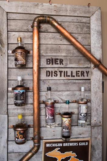 Bier Distillery exterior display of beer bottles