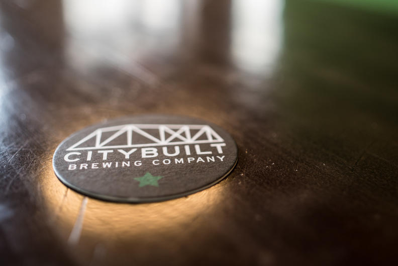 City Built Brewing Co. coaster on bartop