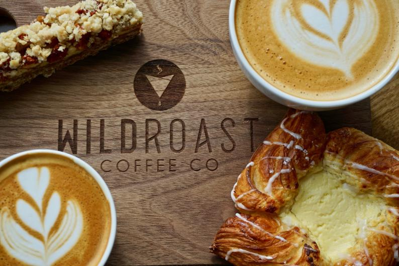 Wildroast Coffee Co. serves up a variety of pastries, coffee, lattes, tea, and more.
