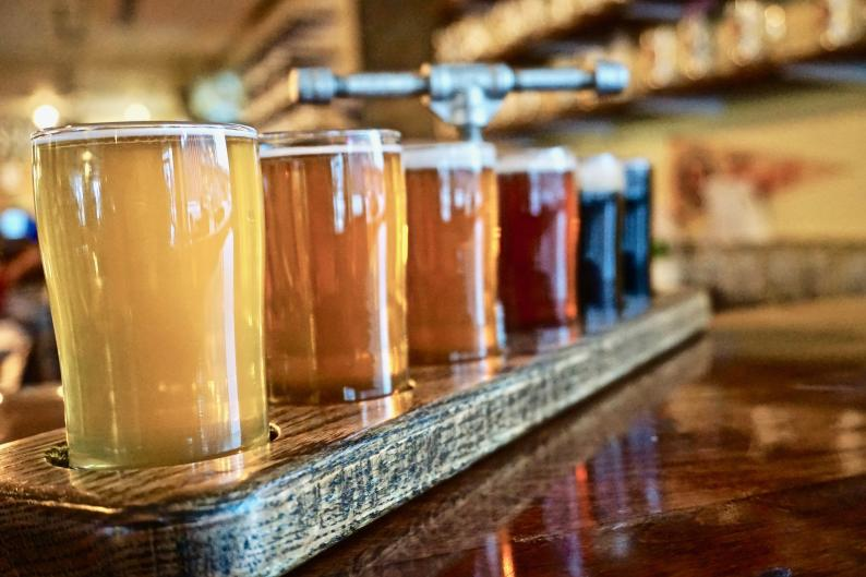 Can't decide what to pair with your food? Order a flight of beer at Osgood Brewing to try up to five different brews.