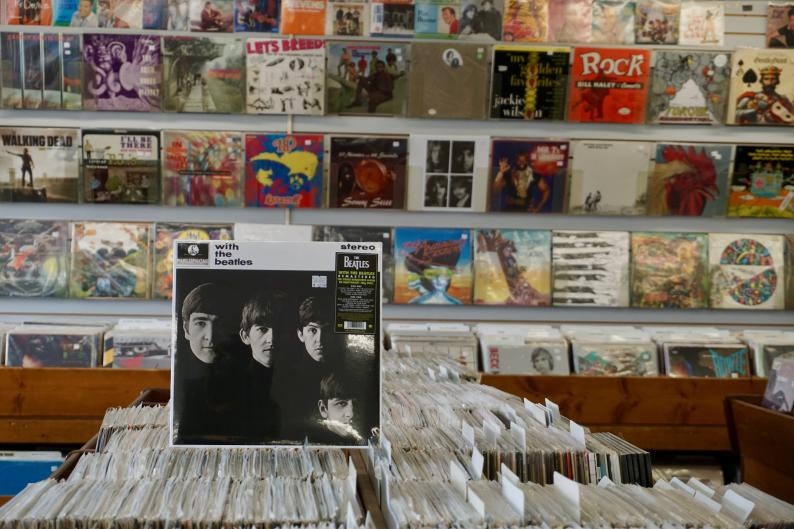 In addition to vinyl records, Corner Record Shop also sells equipment such as record players, replacement needles, and speakers.