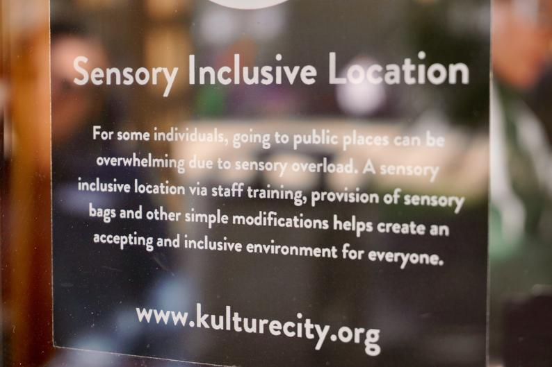 Sign for Sensory Inclusion Location at the zoo in Grand Rapids