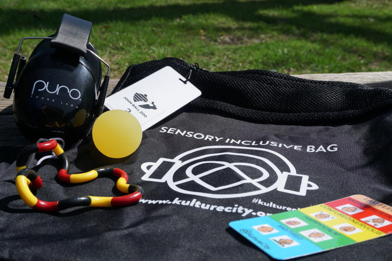Sensory bag with noise-canceling headphones, feelings cards, and fidget toys