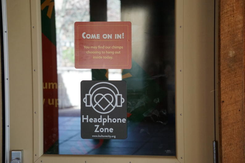 Sign on door of headphone zone at the John Ball Zoo in Grand Rapids