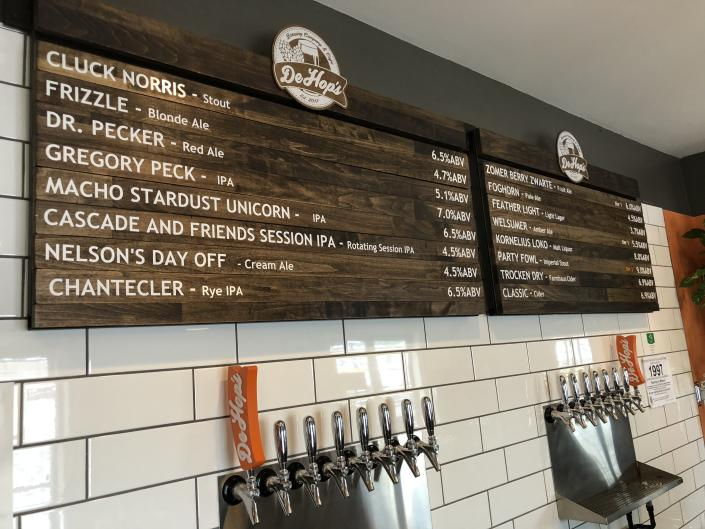 DeHop's Brewing Company and Café offers 16 craft beers on tap.