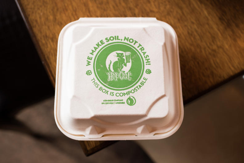 A leader in sustainability: All napkins, to-go products, and straws at HopCat are made from renewable resources and plants.