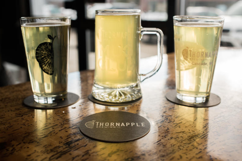 Mug of beer on a table at Thornapple Brewing Co.