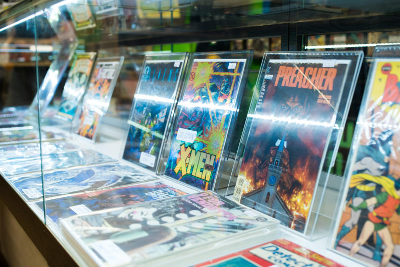 Comic books on the shelf at The Collectors Resource