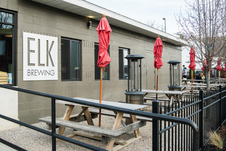 Elk Brewing's outdoor patio is one of the many patios in the Uptown neighborhood off of Wealthy Street.