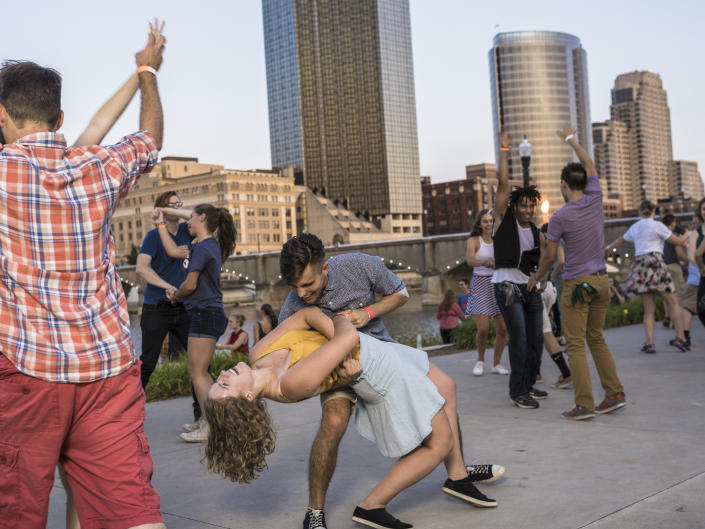 People enjoy swing dancing in downtown at both Ah-Nab-Awen Park and Rosa Parks Circle every Tuesday and Wednesday night.