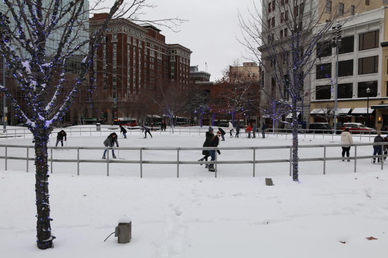 In the winter, Rosa Parks Circle transforms into a winter wonderland thanks to its man-made ice rink. Rosa Parks Circle hosts various winter activities, including the Human Hungry Hippos event.