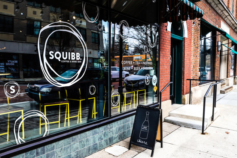 Get your fill of coffee, tea, wine, cheese, and charcuterie at Squibb Coffee and Wine Bar.