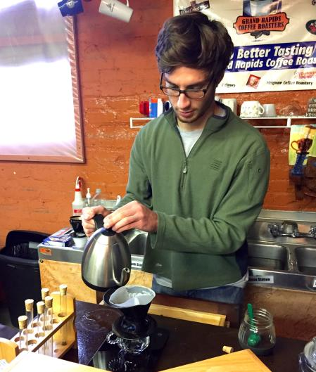 Learn how to make the perfect pour-over on Saturdays at Grand Rapids Coffee Roasters.