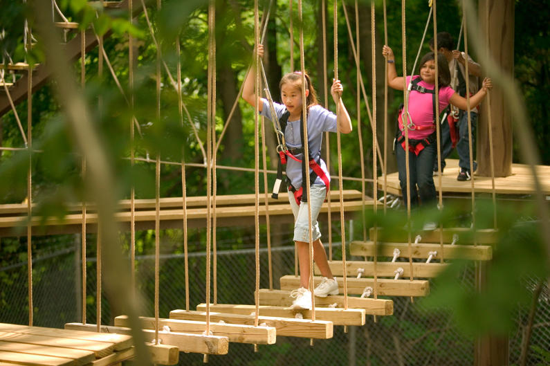 John Ball Zoo's Sky Trail Ropes Course provides fun for any age and a great view of Grand Rapids' skyline.