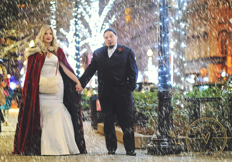 Grand Rapids provided the perfect wintery backdrop for the VanAlstine's December wedding.