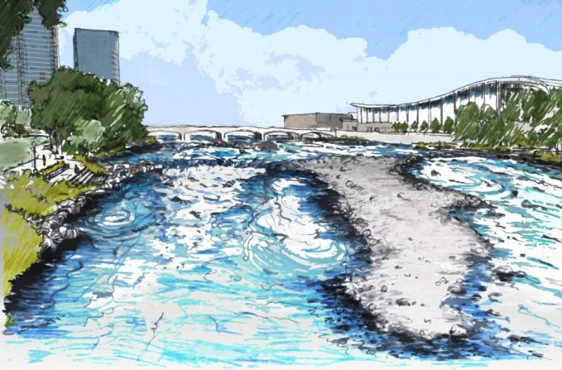 Rendering of the Grand River following the Grand Rapids Whitewater project.