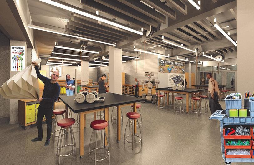 A mockup of a classroom setting in the Public Museum School shows how students would engage with the space.