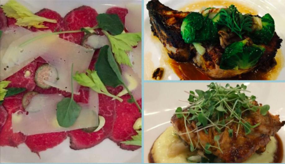 Beef TenderloinCarpaccio, Duroc Pork Chop, and Bistro Chicken at Wheelhouse
