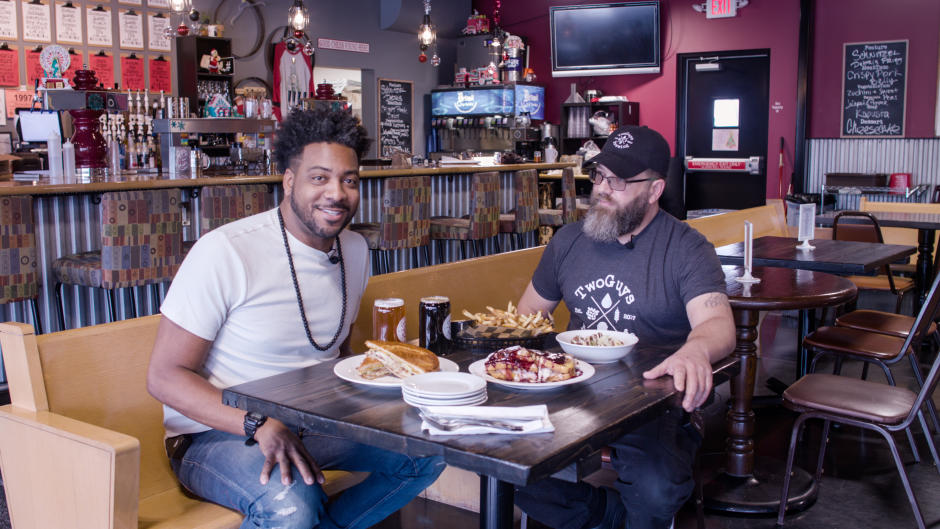 """Beer City Eats host, Adrian """"AB"""" Butler, during his interview with Thomas Payne, Two Guys Brewing's Brewer, Chef, and Owner"""