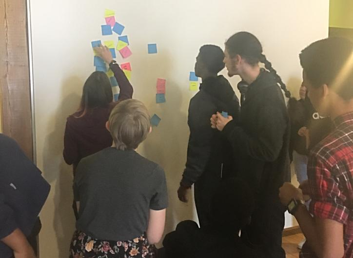 West Michigan Center for Arts and Technology youth using design thinking to figure out a problem.