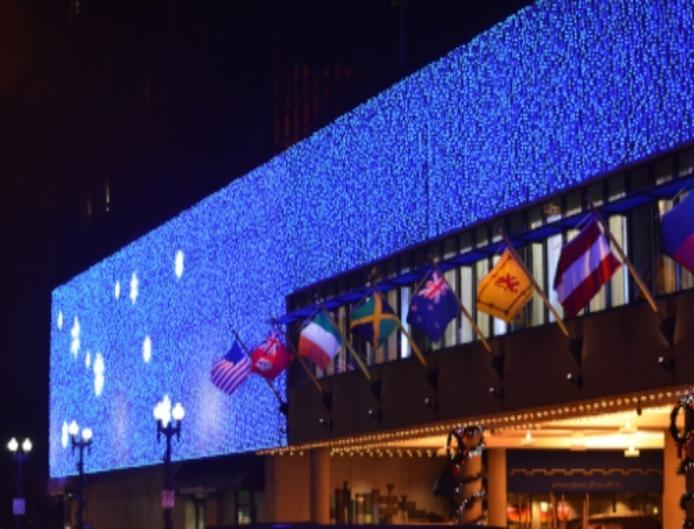 Amway Grand Plaza south entrance holiday lights downtown