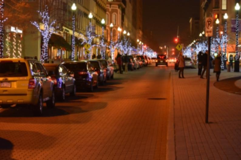 Monroe Center holiday lights downtown