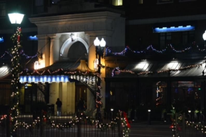 Amway Pantalind entrance with holiday lights