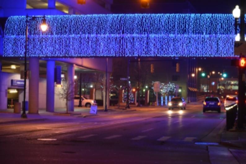 Amway Grand Plaza skywalk holiday lights downtown